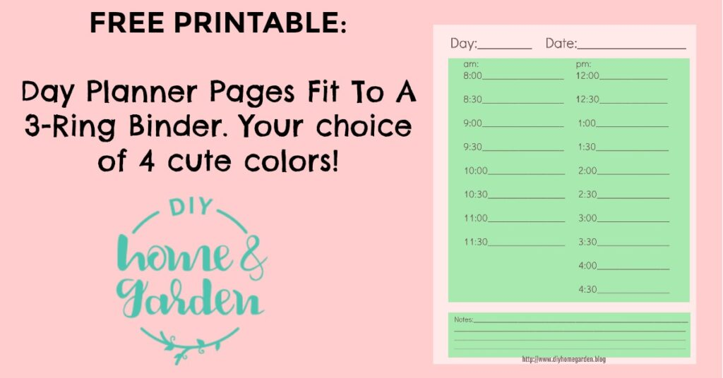 Free Printable: Pick Your Color DIY Day Planner Pages