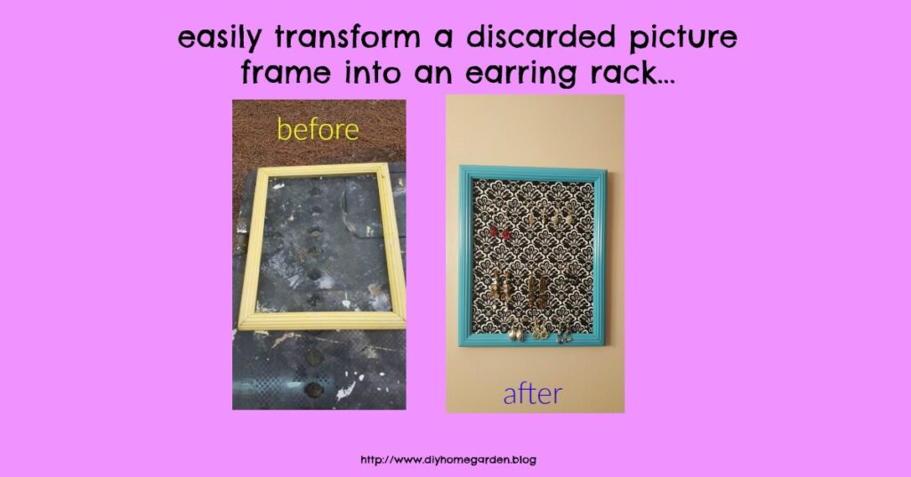 DIY How To Upcycle A Picture Frame Into An Earring Rack