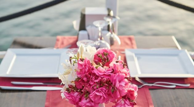 backyard wedding flowers on table